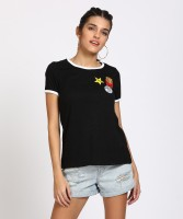 People Solid Women's Round Neck Black T-Shirt