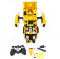 HALO NATION Radio controlled robot transformer Dump truck 1:14 AutoBot Toy for kids with USB Charger BumbleBee(Yellow)