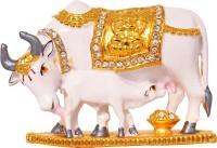 Art N Hub Kamdhenu Cow And Calf Pooja Mandir Idol - Home D??cor Gift Statue Decorative Showpiece  -  5 cm(Brass, Gold)