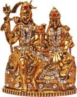 Art N Hub Lord Shiva Family / Shiv Parivar Parvati Ganesh Idol God Statue Decorative Showpiece  -  6 cm(Brass, Gold)