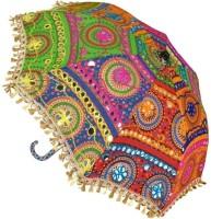 JaipurCrafts Rajasthani Sun Umbrella Embroidery Designer Cotton Parasols Traditional and Colorful Design Umbrella Protect from Sun | Embroidery Work Foldable Cotton Beautiful Beautiful Travel Umbrella 25 x 30 Inches Umbrella(Red, Yellow)