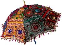 JaipurCrafts Rajasthani Sun Umbrella Embroidery Designer Cotton Parasols Traditional and Colorful Design Umbrella Protect from Sun | Embroidery Work Foldable Cotton Beautiful Beautiful Travel Umbrella 21 x 24 Inches Umbrella(Multicolor)