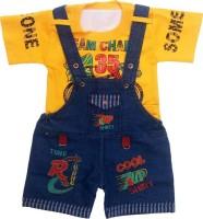 Mums Magic Dungaree For Boy's & Girl's Self Design Denim(Yellow, Pack of 1)