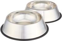 PETS EMPIRE Dog & Cat Bowl ( Set of 2 ) Round Steel Pet Bowl(700 ml Steel)