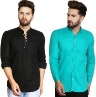 A-Okay Men Solid Casual Black, Dark Green Shirt(Pack of 2)