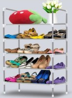 CMerchants OPEN Cabinet-4Layer Metal Collapsible Shoe Stand(Silver, 5 Shelves)