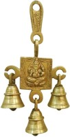 Ratnatraya Energized Brass Lord Ganesha Om Three Bell Door/Wall Hanging for Festive Decor & Spiritual Protection Decorative Showpiece  -  17.5 cm(Brass, Multicolor)