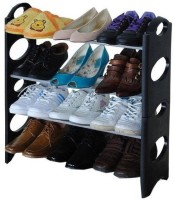 Speed Plastic, PP (Polypropylene) Shoe Stand(Black, 4 Shelves)