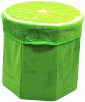 AKR DESIGNER FOLDABLE MULTI PURPOSE VELVET STORAGE STOOL SEAT FOR SITTING AND STORING TOYS & THINGS Living & Bedroom Stool(Green)