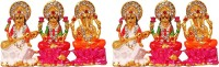 FABZONE Combo of 2 Gold Plated Lord Laxmi / Ganesh / Saraswati Mata God Ganpati Car Dashboard Idol Handicraft Spiritual Puja Vastu Figurine - Religious Murti Home Decor Gift item/ Home Decor Decorative Showpiece  -  5 cm(Brass, Multicolor)