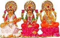 FABZONE Gold Plated Lord Laxmi / Ganesh / Saraswati Mata God Ganpati Car Dashboard Idol Handicraft Diwali Decorative Spiritual Puja Vastu Figurine - Religious Murti Home Decor Gift item Decorative Showpiece  -  5 cm(Brass, Multicolor)