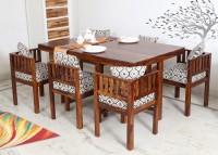 Flipkart Perfect Homes PureWood Sheesham 6 Seater Dining Set(Finish Color - Teak)