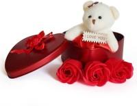 Lata Cute Teddy & 3 Rose Flower in Beautiful Heart Shape Box Soft Toy, Artificial Flower Gift Set