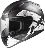 LS2 DeadBold Black white Motorbike Helmet(Black White)