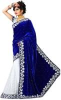 Anugrah Textile Embroidered Daily Wear Satin Blend, Velvet Saree(White, Blue)