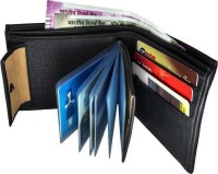 Wildland Men Black Artificial Leather Wallet(10 Card Slots)