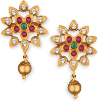 Spargz Floral Gold Plated Ad Top & Drop Diamond Brass Stud Earring