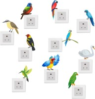 Happy walls Colorful parrots switchboard stickers(Multicolor)