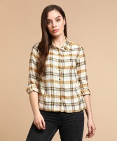 Flying Machine Women's Checkered Casual Spread Shirt