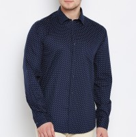 Delvinbroad Men Polka Print Casual Dark Blue Shirt