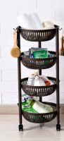 House of Quirk Plastic Kitchen 4 Layer Round Vegetables Fruit Storage Basket For Multi Layer Storage Basket With Wheels - Brown Plastic Fruit & Vegetable Basket(Brown)