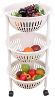 House of Quirk Plastic Kitchen 4 Layer Round Vegetables Fruit Storage Basket For Multi Layer Storage Basket With Wheels - White Plastic Fruit & Vegetable Basket(White)