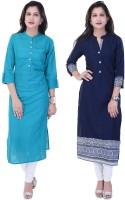 Style N Shades Women Solid Straight Kurta(Dark Blue, Light Blue)
