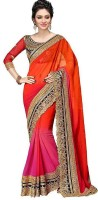 jayant creation Embroidered Bollywood Poly Georgette Saree(Red)