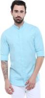 Dennis Lingo Men's Solid Casual Mandarin Shirt