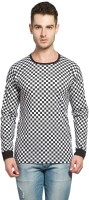 Alan Jones Checkered Men Round or Crew Black, White T-Shirt