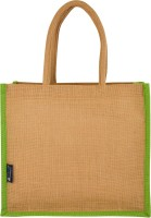 Promise Bags Perfect Eco Friendly Naturally processed Multipurpose Reusable Jute Bags(Green Boarder) Multipurpose Bag(Green, 10 L)