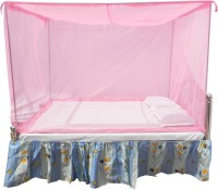 HOMECUTE Polyester Adults Double Bed Cotton Edge Traditional Mosquito Net 6 X 7 ft one Colour Mosquito Net(Pink)