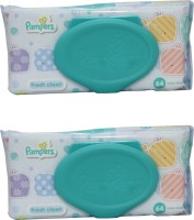 Pampers Fresh Clean Baby Wipes Combo Pack Of 2 pcs (Per Pcs 64 Wipes)(2 Pieces)