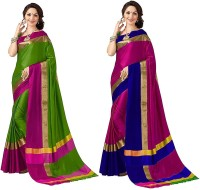 Prabhas Woven, Solid Kanjivaram Cotton Silk Saree(Pack of 2, Green, Pink, Pink, Blue)