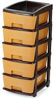 Wud Kraft Plastic Free Standing Chest of Drawers(Finish Color - Brown)