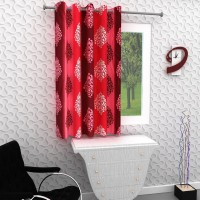 Homely 153 cm (5 ft) Polyester Window Curtain Single Curtain(Motif, Red)