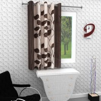 Homely 153 cm (5 ft) Polyester Window Curtain Single Curtain(Floral, Brown)
