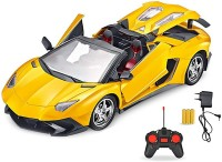 Webby Rechargeable Remote Control LED Toy Car, Yellow(Multicolor)