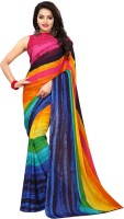 Saara Printed, Hand Painted Bollywood Pure Georgette Saree(Multicolor)