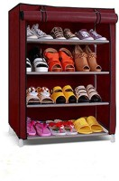 PAffy Metal Collapsible Shoe Stand(Maroon, 4 Shelves)