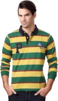 People Striped Men's Polo Neck Yellow, Green T-Shirt