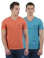 Jack & Jones Solid Men V-Neck Orange, Blue T-Shirt(Pack of 2)