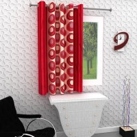 Homely 153 cm (5 ft) Polyester Window Curtain Single Curtain(Geometric, Red)