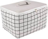 HomeStorie Wardrobe Organizer Cloth Storage Bag, Medium 42 x 32 x 24 cm, Grey(Grey, White)