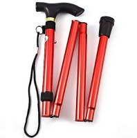 Protos India.Net Trekking Folding Cane Metal 85 cms Support Stick - 34 inch(Red)