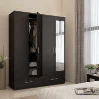 Spacewood Classy Engineered Wood 4 Door Wardrobe(Finish Color - Natural Wenge, Mirror Included)