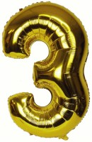 Kala Decorators Solid '3' Numerical foil balloon 16 inch Golden balloon Balloon(Gold, Pack of 1)