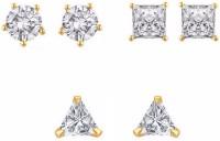 Aabhu Aabhu American Diamond Jewellery Four Beautiful Solitaire CZ Studs Combination Earrings Combo For Girls And Woman Alloy Stud Earring
