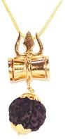 RUDRA DIVINE RUDRAKSHA DAMRU CHAIN KAVACH 100% Original 5 face rudraksha Stylish Damru Design and Gold Plated Chain RUDRA DIVINE self Certified Wood, Alloy Pendant