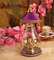 Itiha Purple Umbrella Ganesha Decorative Showpiece  -  15 cm(Glass, Purple)